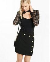 Express choker cut-out lace sleeve and yoke blouse