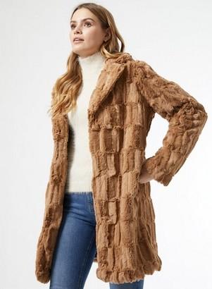 Dorothy Perkins Womens Camel Longline Faux Fur Coat