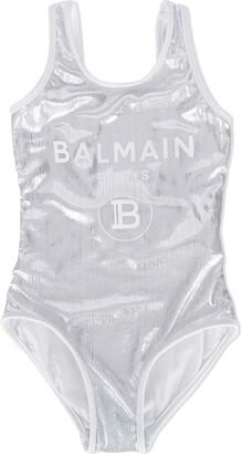 Balmain Kids metallic logo-print swimsuit
