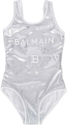 Balmain Kids Metallic Logo-Print Swimsuit