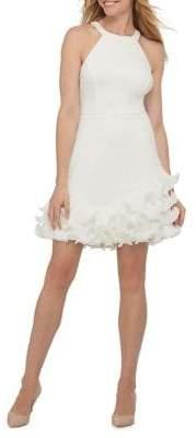 GUESS Halter Ruffle Bottom Fit-&-Flare Dress