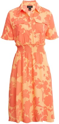Halogen X Atlantic-Pacific Floral Smocked Utility Dress