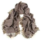Black Brown and Ivory Antique Loom Cashmere Scarf