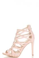 Quiz Pink Patent Caged Heeled Sandals