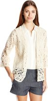 Leo & Nicole Women's Missy Elbow Sleeve Crochet Open Cardi