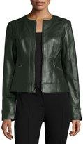 Neiman Marcus Collarless Zip-Front Lambskin Leather Jacket, Hunter Green