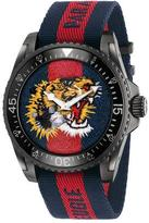 Gucci 45mm Dive Tiger Watch w/ Nylon Web Strap