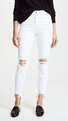 L'Agence Highline High Rise Skinny Jeans with Deconstructed Hem