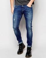 D.I.E. Smoke Super Skinny Distressed Jeans in Light Blue Wash