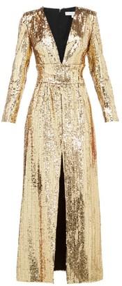 Borgo de Nor Gisele V-neck Sequinned Maxi Dress - Gold