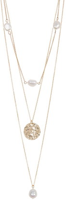 Area Stars Imitation Pearl Molten Coin Layered Necklace Set