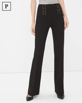 White House Black Market Petite Black Lace-Up Waist Flare Pants