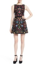 Alice + Olivia Women's Lindsey Embroidered A-Line Dress