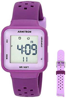 Armitron Sport Women's Digital Chronograph Purple and Lavender Interchangeable Silicone Strap Watch