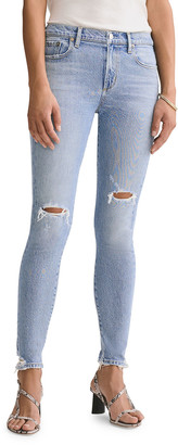 A Gold E AGOLDE Sophie Mid-Rise Ankle Skinny Jeans with Knee Rip