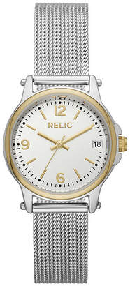Fossil RELIC BY Relic By Matilda Mesh Womens Silver Tone Stainless Steel Bracelet Watch-Zr34562