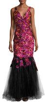 Badgley Mischka Floral-Embroidered Mermaid Gown, Purple/Black