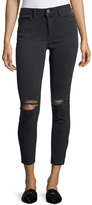 DL1961 Premium Denim High-Rise Skinny Distressed Ankle Jeans, Black