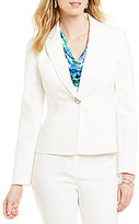 Kasper Petite 1 Button Double Weave Notch Lapel Jacket