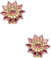 Amrapali Women's Yellow Gold, Tourmaline & 0.85 Total Ct. Diamond Flower Stud Earrings