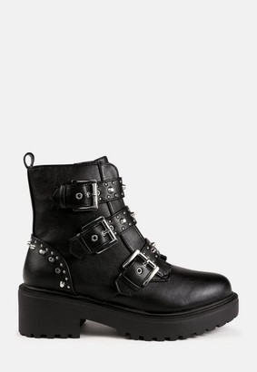 Missguided Black Buckle Strap Chunky Ankle Boots