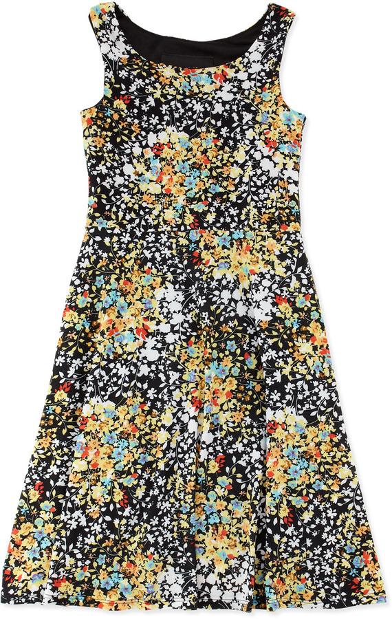 Un Deux Trois Flower-Print Sleeveless Dress, 7-14