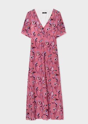 Women's Pink 'Woodblock Floral' Long Silk Dress