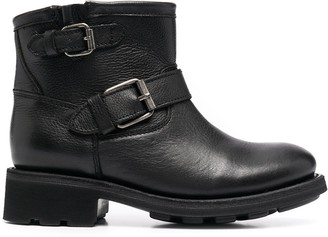 Ash Buckle-Strap Leather Ankle Boots