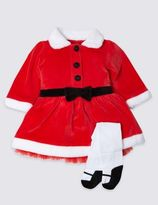 Marks and Spencer Mrs Santa Velour Christmas Dress and Tights