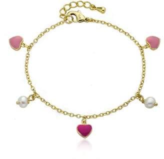 "Little Miss Twin Stars Girls' ""I Love My Jewels"" 14k Gold-Plated Pink Enamel Hearts and Fresh Water Pearl Dangle Charm Bracelet"