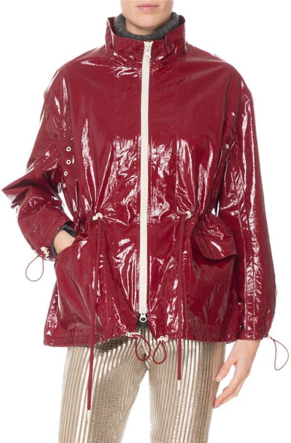 Isabel Marant Zip-Front Drawstring-Waist Shiny Rain Coat