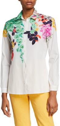 Etro Bouquet-Print Cotton Poplin Shirt