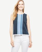Ann Taylor Striped Sleeveless Fringe Sweater