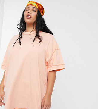 Collusion Plus Exclusive t-shirt dress in peach