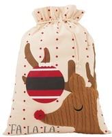 Mud Pie Fa La La Reindeer Canvas Gift Sack - Beige