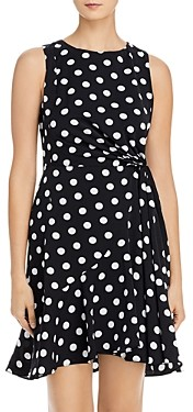 Adrianna Papell Dot Print Tied-Waist Dress