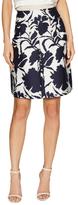 Oscar de la Renta Cotton Inverted Pleat Above The Knee Skirt