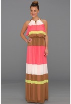 Vince Camuto Colorblock Batwing Floor-Length Dress (Teaberry Multi) - Apparel