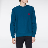 Paul Smith Men's Turquoise Flocked PS Logo Sweatshirt