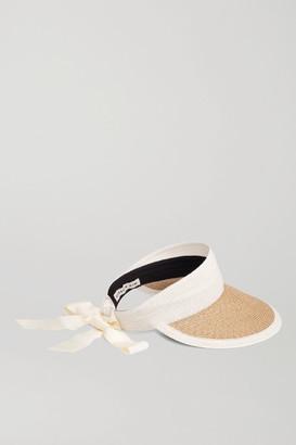 Eugenia Kim Ricky Grosgrain-trimmed Two-tone Straw Visor - Sand