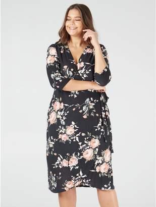 M&Co Blue Vanilla Curve soft touch floral wrap dress