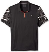 Lacoste Men's Tennis Performance Short Sleeve Ultradry Printed Zip Polo Shirt