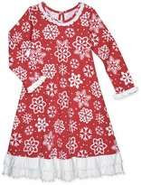 Sara's Prints Girls' Snowflake Ruffle Nightgown, Toddlers