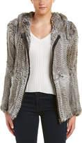 Adrienne Landau Leather-Trim Hoodie