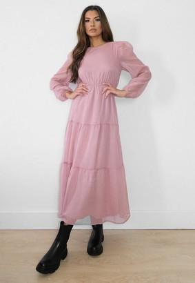 Missguided Blush Pleated Smock Midi Dress