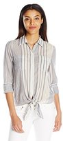 7 For All Mankind Women's Striped Tie-Front Shirt in