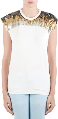 Vionnet Off White Jersey Embellished Yoke Detail Sleeveless T-Shirt L