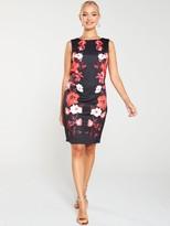 Wallis Trailing Rose Scuba Shift Dress - Black