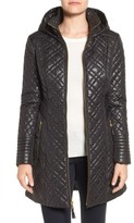 Via Spiga Women's Tassel Detail Hooded Mix Quilt Coat