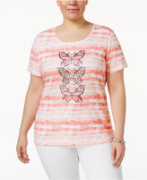 Karen Scott Plus Size Striped Butterfly-Print T-Shirt, Only at Macy's